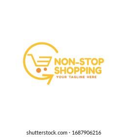 Online shop logo design. E commerce, sale, discount or store web element. Company emblem. Vector illustration of bag isolated.