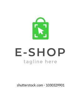 Online shop logo design. Ecommerce, sale, discount or store web element. Company emblem. Vector illustration of bag isolated on white background.