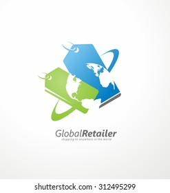 Online shop logo design layout. Global retailer creative symbol concept with price tags and globe in negative space.