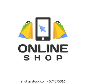 Online shop logo. Online shopping icon.  Ecommerce, Online store, Online marketing logo. Business, Web, Digital, Network, Technology logo.