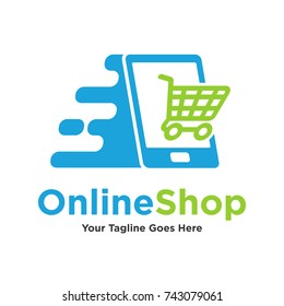 Online shop logo. Online shopping icon. Ecommerce, Online store, Online marketing logo. Business, Web, Digital, Network, Technology logo.