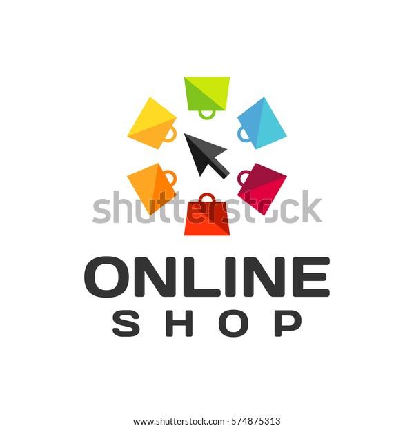 Online Shop Logo Online Shopping Icon Stock Vector (Royalty