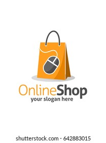 online shop logo template vector