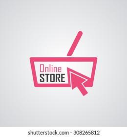Online shop logo. Vector illustration