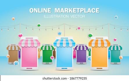 online shop or online market illustration vector.