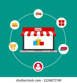 Online Shop Marketplace with Laptop.On line store. Sale, Laptop and smart phone with awning