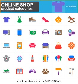 Online shop product categories vector icons set, modern solid symbol collection, filled colorful pictogram pack. Signs, logo illustration. Set includes icons as clothes, shoes, computer, electronics
