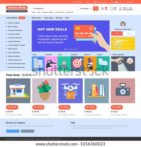 Online shop template online shopping vector stock vector royalty online shop template online shopping vector illustration maxwellsz