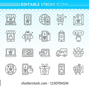 Online shop thin line icon set. Outline sign kit of e commerce. Internet Buy linear icons includes shopping bag, web store order. Editable stroke without fill. Online shop simple contour vector symbol