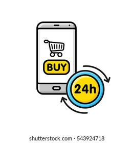 On-line shop twenty four hours on modern smart phone. Flat line colored icon.
