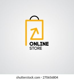 Online shop vector logo for business.