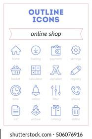 online shop vector outline icons set with all symbols and illustrations for online shop design