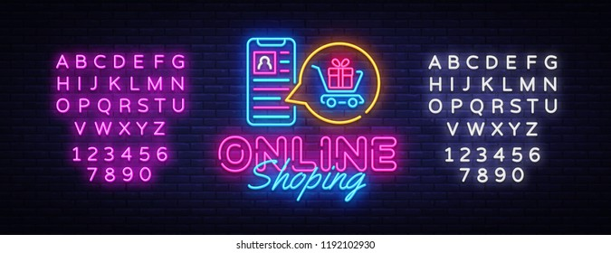 Online Shoping neon banner vector design template. Mobile paymentsneon logo, light banner design element colorful modern design trend, night bright advertising. Vector. Editing text neon sign