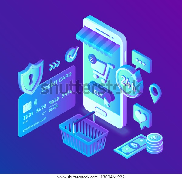 newest 19f4d 064df Online Shopping 3d Isometric Online Store Stock Vector ...