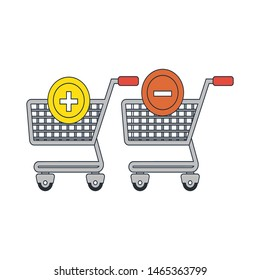 online shopping, add and remove items from the cart icon in flat style isolated. Vector Symbol illustration.