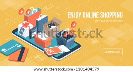 Online Shopping App Gifts Shopping Items Stock Vector (Royalty Free