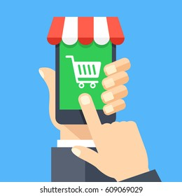 Online shopping app on smartphone screen. Mobile shopping, online store, e-commerce concepts. Hand holding smartphone, finger touching screen. Modern flat design graphic elements. Vector illustration.