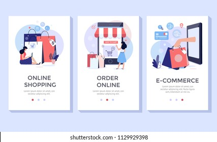 Online shopping banner, mobile app templates, concept vector illustration flat design