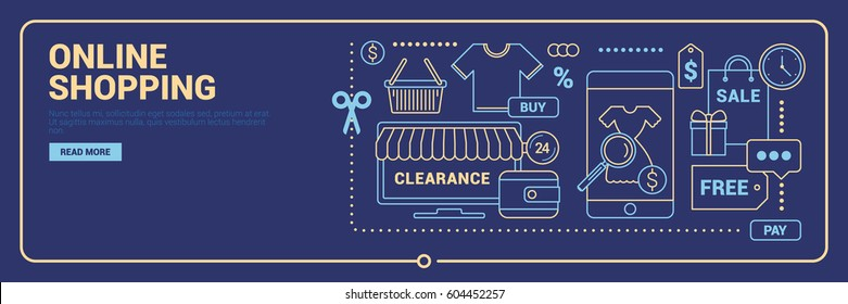 Online shopping banner. Set of line design concept icons for web or mobile apps