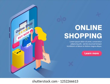 Online shopping buisness concept banner. Blond girl chooses goods in the online store.
