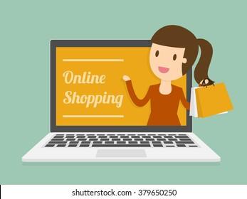 Online Shopping. Business Concept Cartoon Illustration.
