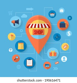 Online shopping and business marketing concept with flat icons design. Vector illustration