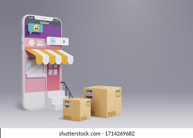 Online shopping by smart phone, the shop retail can be use internet to present product on customers phone, vector art and illustration.