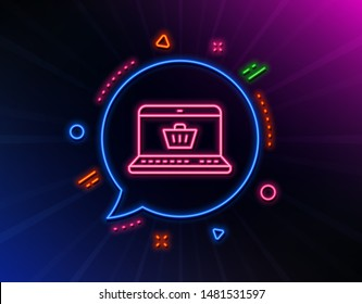 Online Shopping cart line icon. Neon laser lights. Laptop sign. Supermarket basket symbol. Glow laser speech bubble. Neon lights chat bubble. Banner badge with online shopping icon. Vector