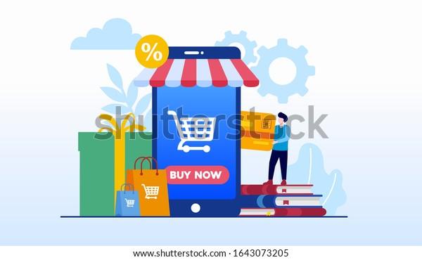 Compra en línea. página de inicio de la página web de descuentos para compras de comercio electrónico ilustración plana vectorial plantilla