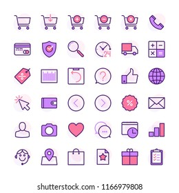 Online shopping color line icon set