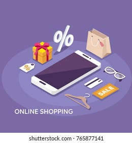 Online shopping concept banner. Flat isometric vector illustration.
