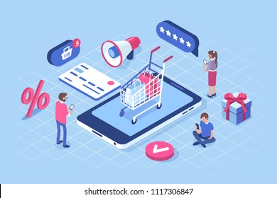 Online shopping concept with characters. Can use for web banner, infographics, hero images. Flat isometric vector illustration isolated on white background.