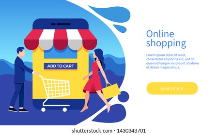Online shopping concept with characters and text place. Young man and woman shopping with a mobile phone. Colorful flat vector illustration for web banner, infographics, landing page.
