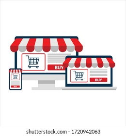 online shopping concept. computer screen, open laptop and smart phone. flat illustration