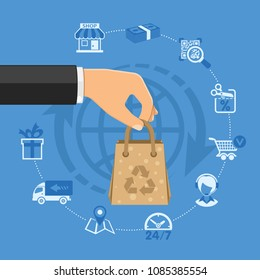 Online shopping Concept with Flat Icons Hand with paper bag and shop, delivery, support. Isolated vector illustration