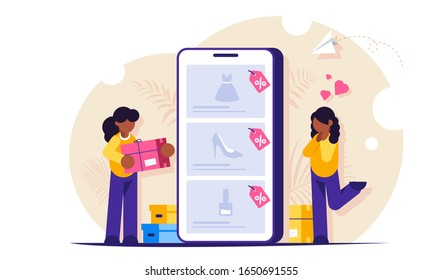 Online shopping concept. Girls make purchases in online store choosing the goods on the site through a mobile phone. Buying dresses, shoes and perfumes. Modern Flat vector illustration.