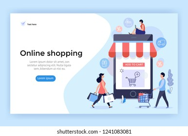 Online shopping concept illustration, perfect for web design, banner, mobile app, landing page