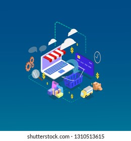 online shopping concept , info graphics Flat isometric vector