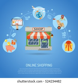 Online Shopping Concept infographics with flat Icons sales, delivery, laptop, piggy bank vector illustration