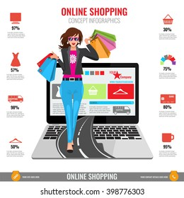 Online shopping concept infographics in vector. Illustrated Woman with paper shopping bags walking from laptop on road.