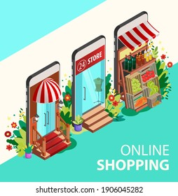 Online shopping concept. Isometric Smartphones Screen With Boutique, Market with Fresh Vegetables, a Department Store. Modern Concept for Web Banners, Websites, Infographics.