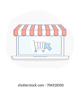 Online shopping concept. Laptop with StoreFront awning and shopping cart. Order or Buy online flat line vector illustration, UX / UI element for web and mobile design.