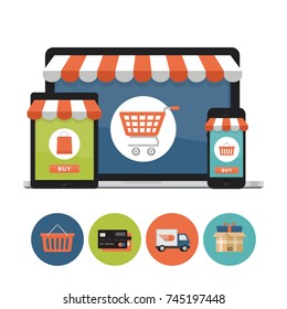 Online shopping concept. Laptop, tablet, phone screen with screen buy. Shopping icons. Flat style, vector illustration.