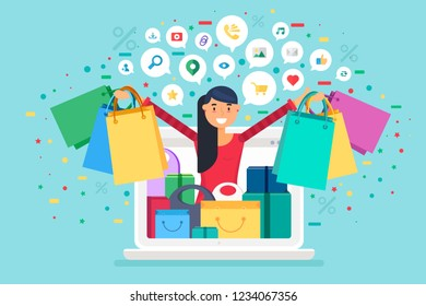 Online shopping concept. Sale banner with woman, device, bags and web icons