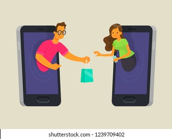 Online shopping concept. The seller in the phone sells the goods to the buyer. Purchase through the app on your mobile device. Vector illustration in flat style.