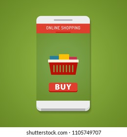 Online shopping concept. Smartphone with buy button on the screen. Flat design concept.