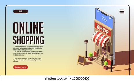 Online Shopping Concept. Smartphone with Online Store on Website or Mobile Application. Vector Isometric Concept of Marketing or Digital Marketing.