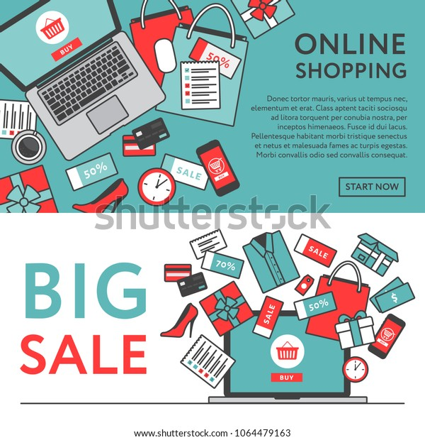 Online Shopping Concept Online Store Objects Stock Vector