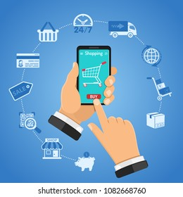 Online Shopping Concept with two color flat icons. Man holding smartphone in hand and buys goods online. Isolated vector illustration