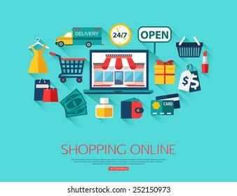 Online shopping concept. Vector illustration.